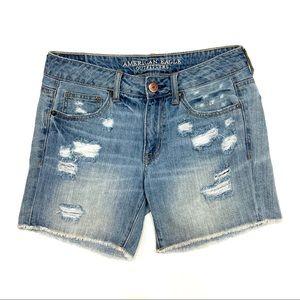American Eagle Boy Midi Shorts Destructed Raw Hem